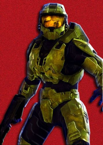 GAMES - HALO - MASTER CHIEF RED TEXTURE canvas print - self adhesive poster - photo print